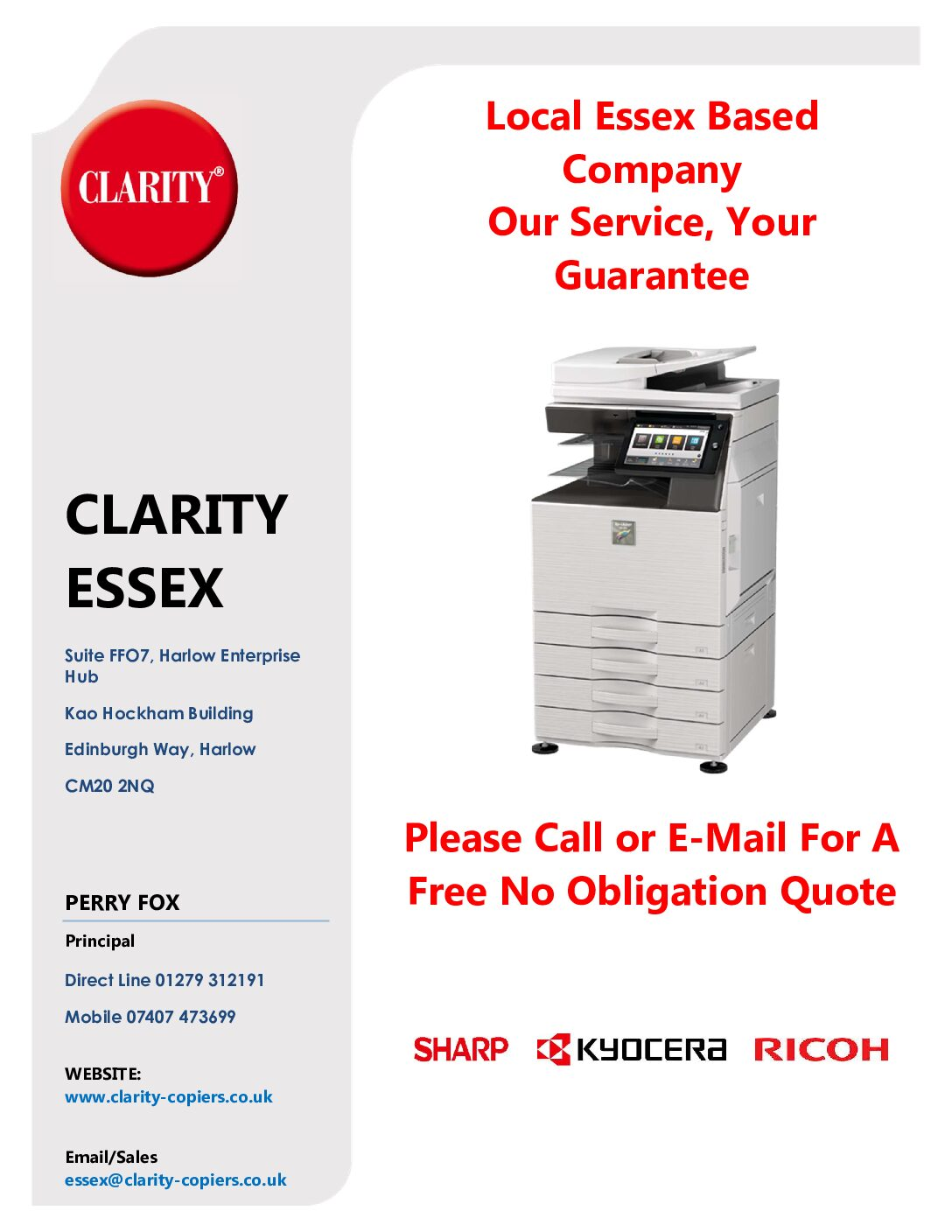 Clarity Essex Photocopiers, Printers, Scanners and associated Software