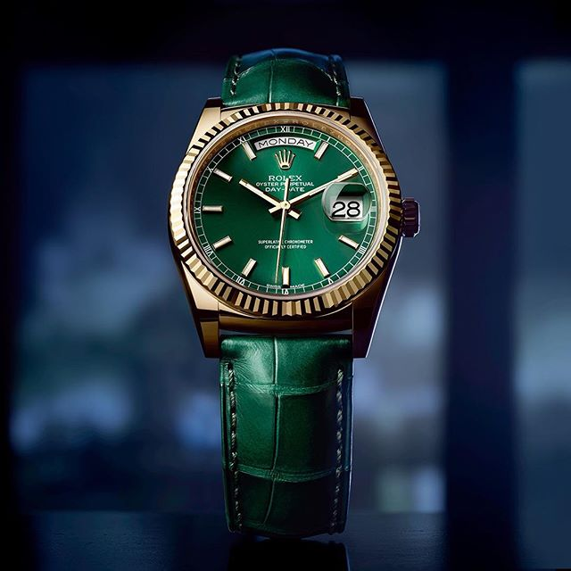 Rolex Green Oyster Perpetual Day-Date Watch