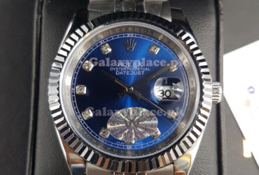 Rolex Oyster Perpetual Date Just Blue dial Diamond Charactor